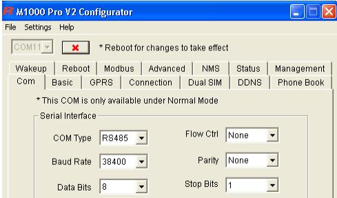 Закладка «COM». Настройка программы M1000 Pro V2 Configurator. Режим клиента