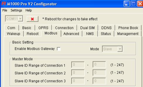 Закладка «Modbus». Настройка программы M1000 Pro V2 Configurator. Режим клиента.