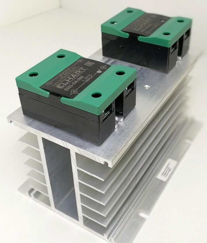 Монтаж двух реле ESS1-DA-060 на радиатор H3-040