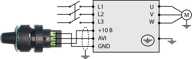 Задание частоты внешним потенциометром
