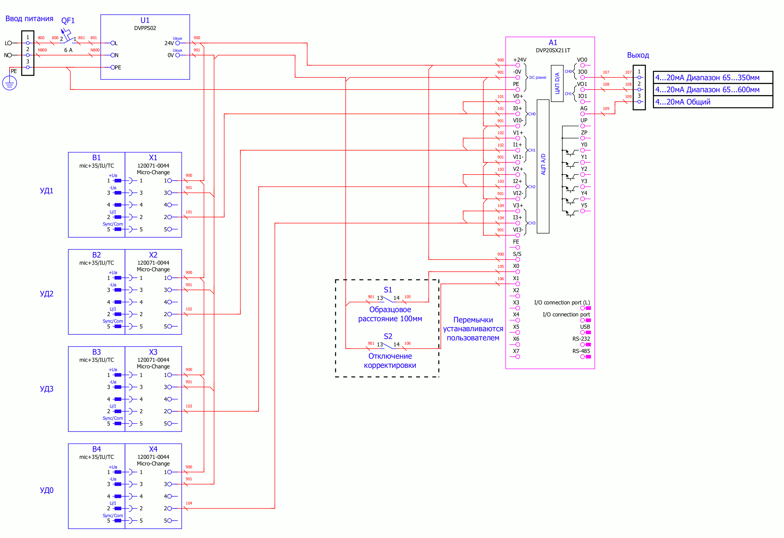 Схема подключения системы измерения на базе ПЛК Delta