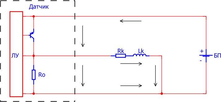 Направление тока при открытом транзисторе