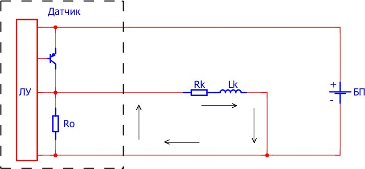 Направление тока после перехода транзистора в закрытое состояние