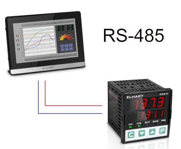 Подключение регулятора ECD2-M к панели оператора ECP-07 по интерфейсу RS-485