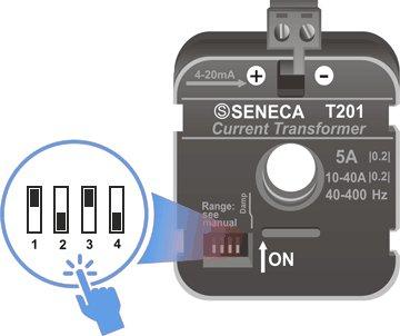 Настройка диапазона работы датчика DIP-переключателями