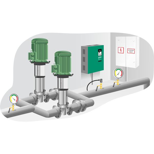 Реализация чередования насосов по времени с контролем аварийных состояний и с АВР на базе преобразователей частоты ELHART серии EMD-PUMP