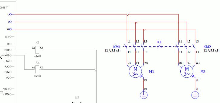 Цепи подключения электродвигателей