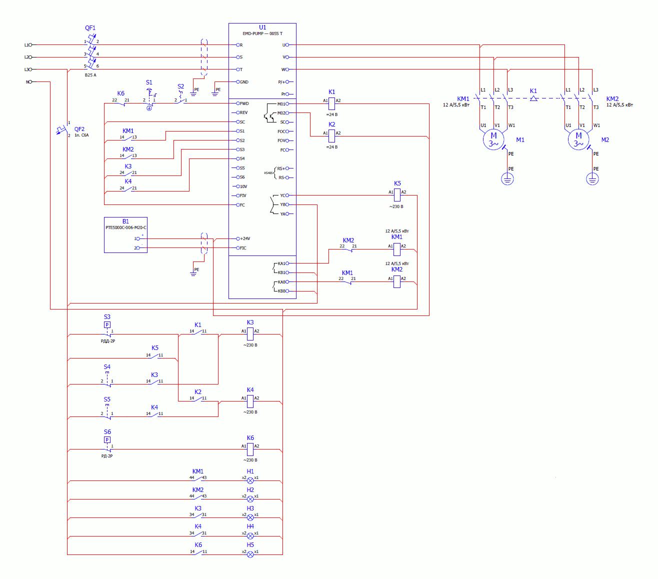 Рисунок 2 – Электрическая схема подключения используемого оборудования